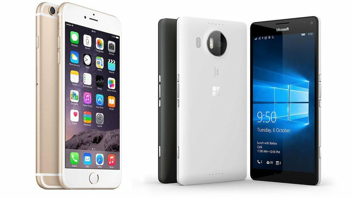 microsoft lumia 950 vs  iphone 6s
