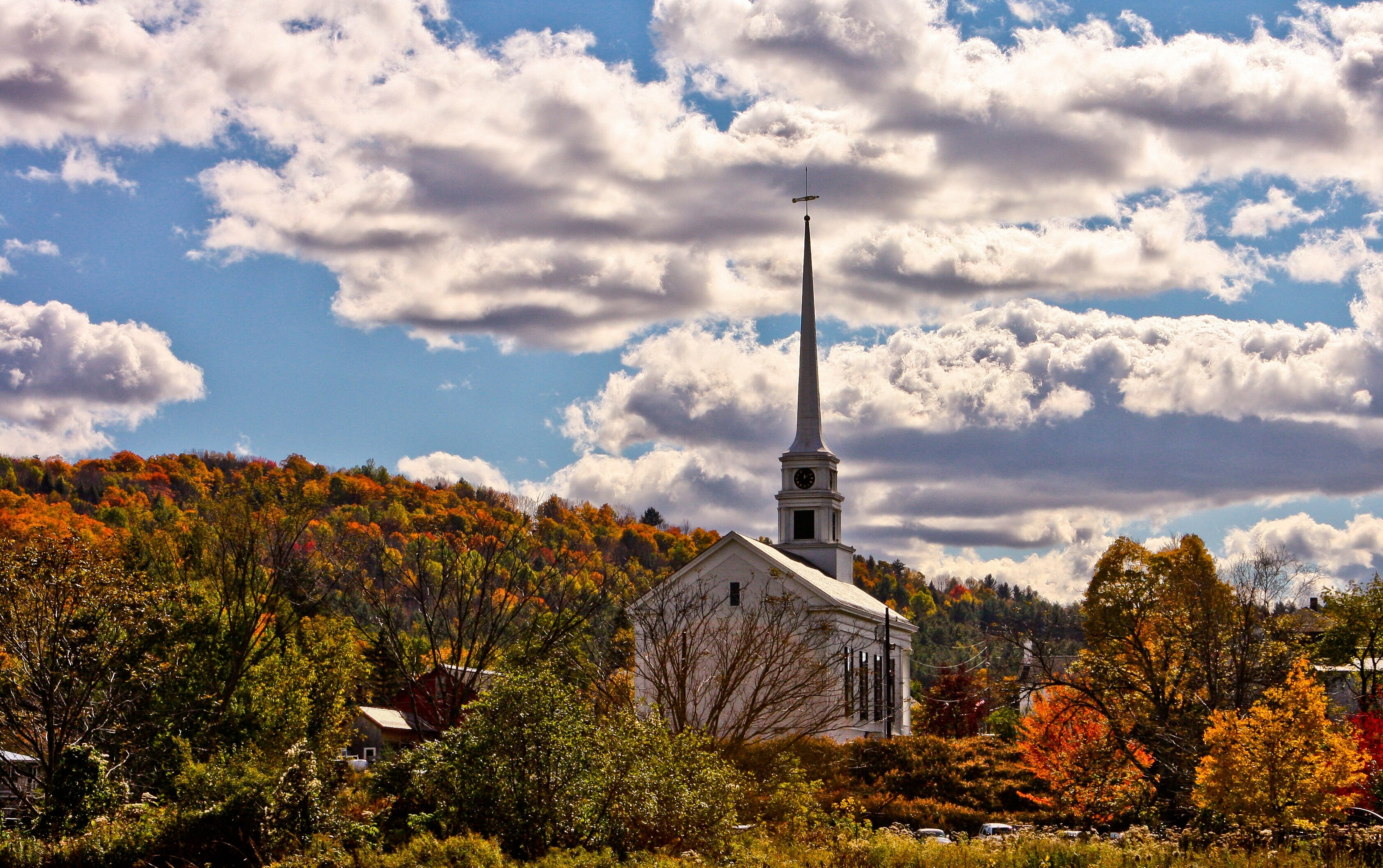 Church and Autumn Leaves